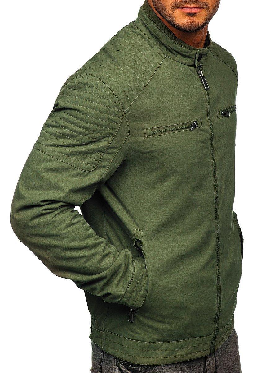 Átmeneti elegáns férfi kabát zöld színben Bolf 1816