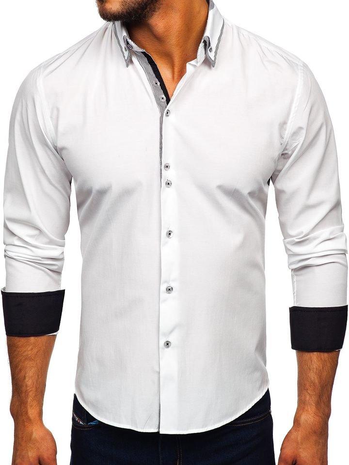 c4c188b01cc Elegáns férfi hosszú ujjú ing fehér színben Bolf 6929-A Fehér