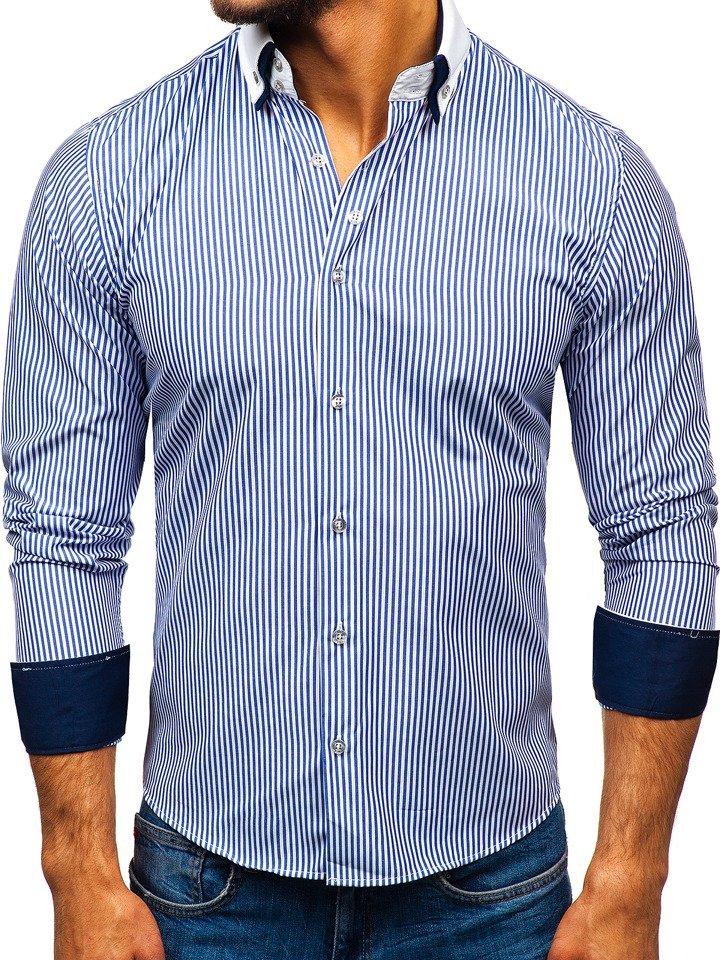 016761ff13f Elegáns férfi hosszú ujjú ing kék színben Bolf 0909-A Kék