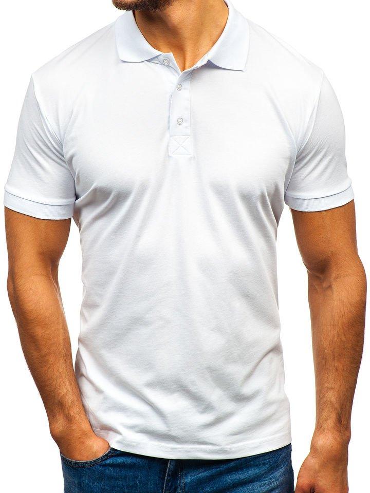 bab25d3761 Fehér galléros férfi póló Bolf 171221 Fehér