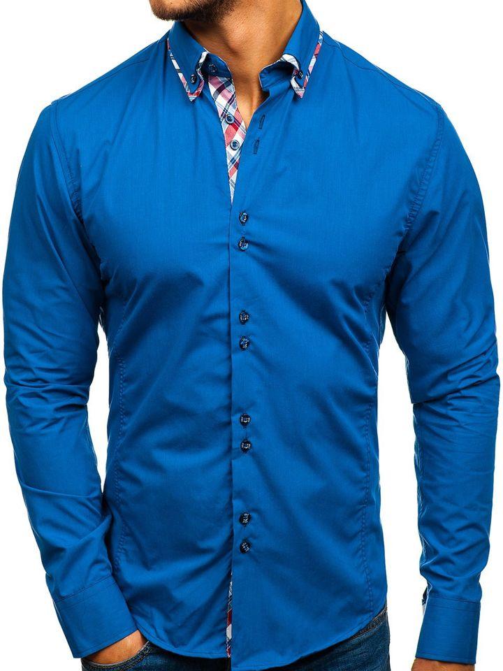 296cde6f6a Férfi elegáns hosszú ujjú kék Bolf ing 4704-1 Kék