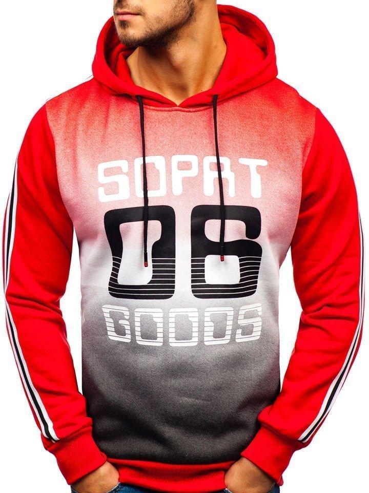 Férfi kapucnis pulcsi mintával piros színben a Bolftól KS1801-A Piros 93ef2fd25a