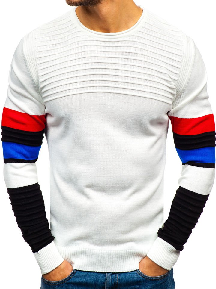 fde553e04656 Férfi pulóver fehér színben Bolf 1002 Fehér