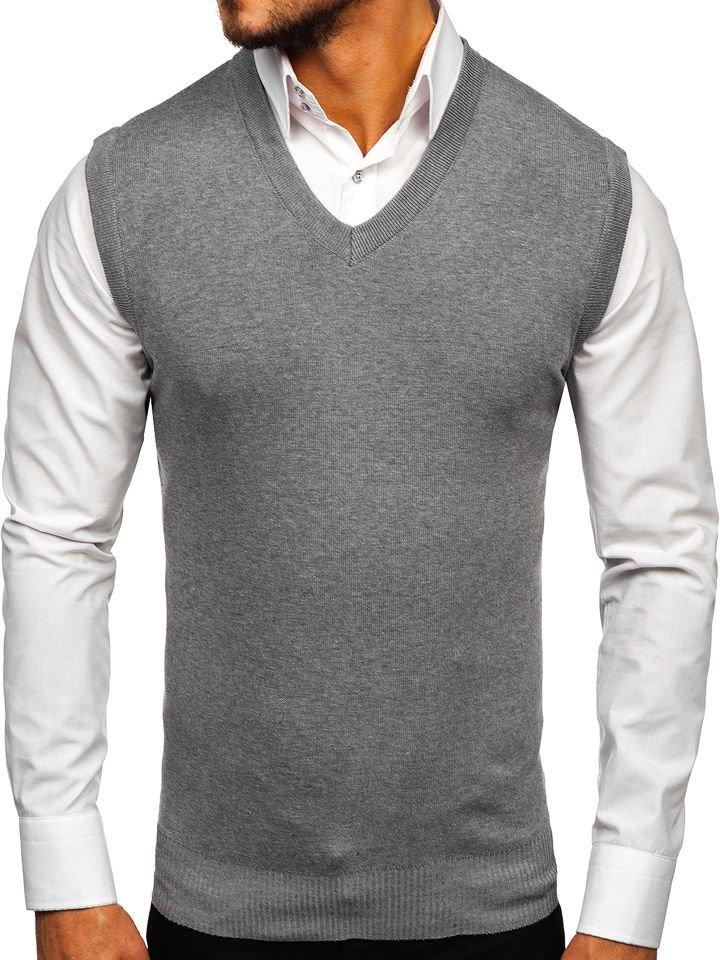 Férfi ujjatlan pulóver szürke Bolf H1939