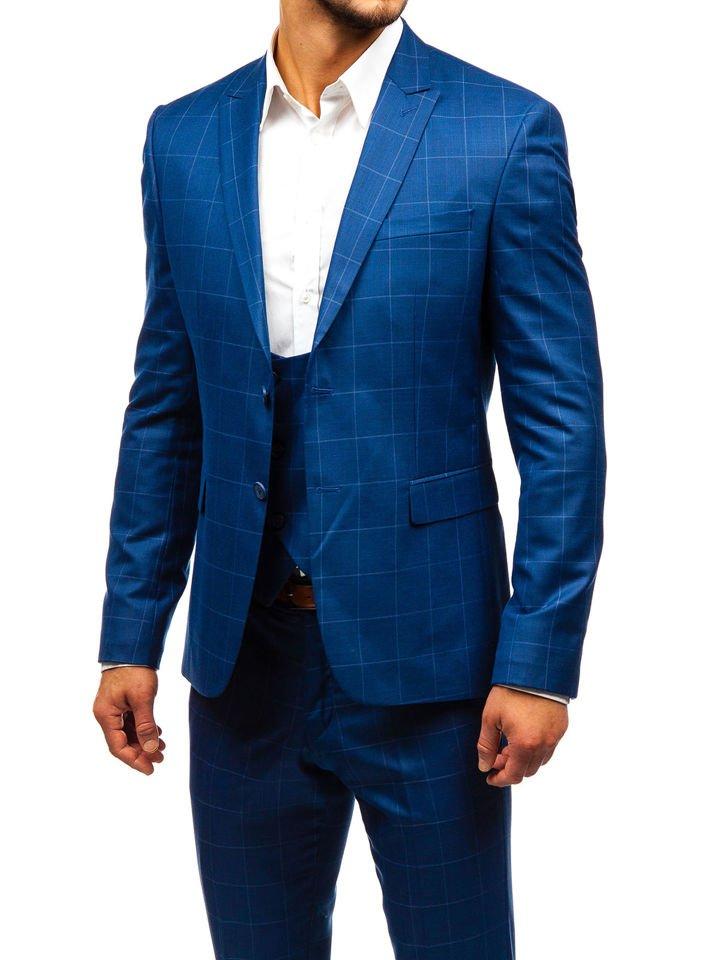 7326e03cadea Kockás férfi öltöny mellénnyel kék színben a Bolftól 18200 Kék