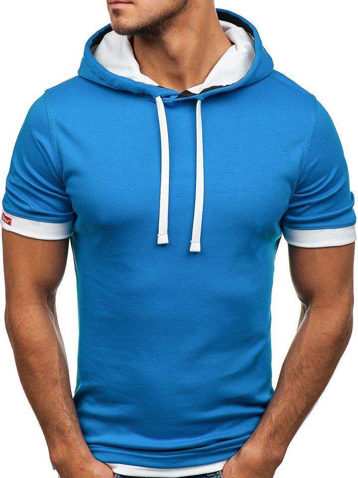Férfi póló minta nélkül kék színben Bolf 08
