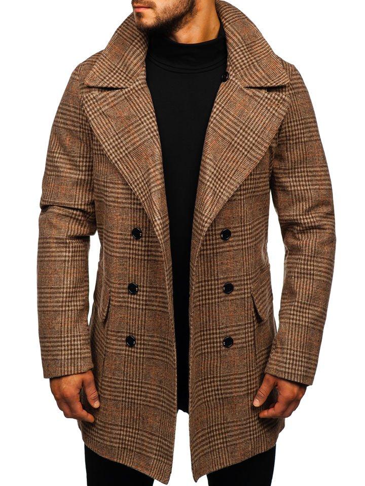 Téli férfi kabát barna színben Bolf 1117