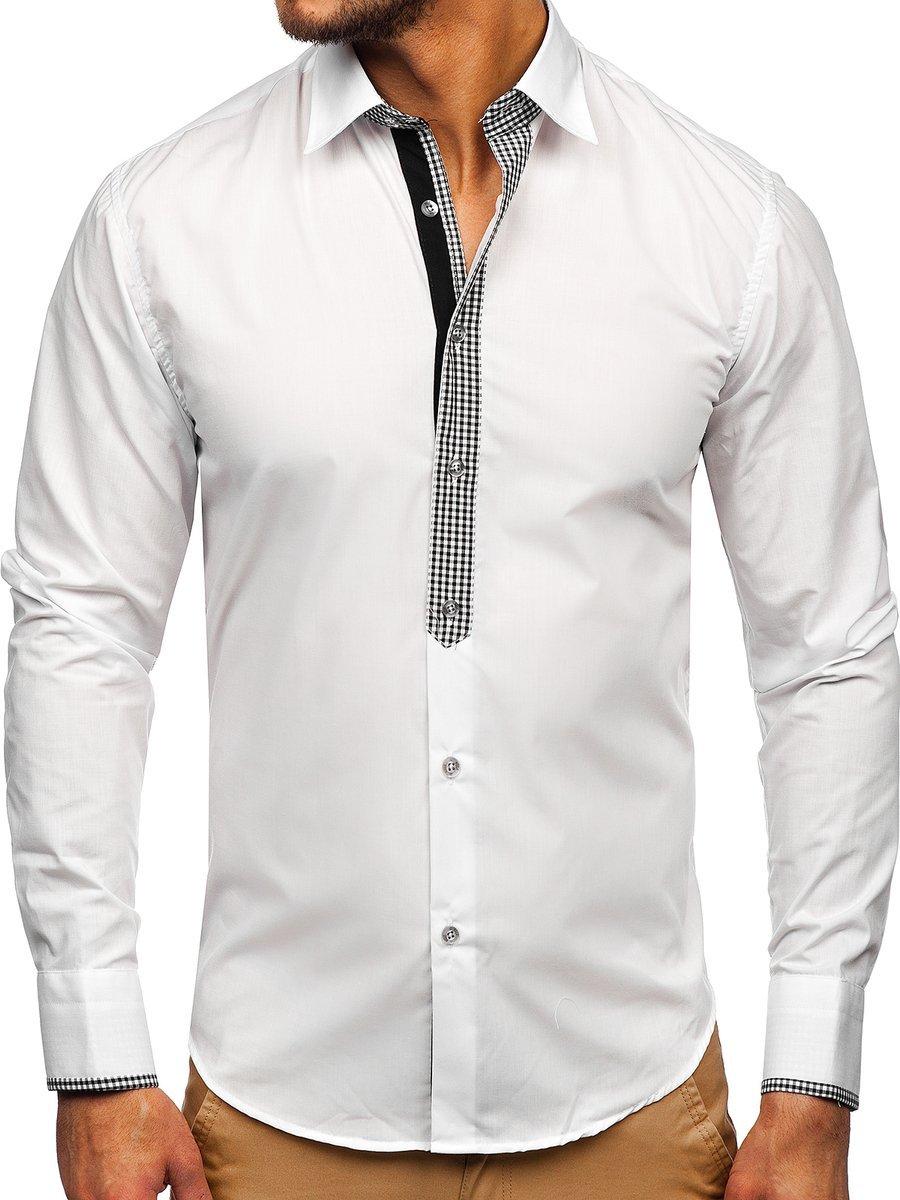 Elegáns férfi hosszú ujjú ing fehér Bolf 6873