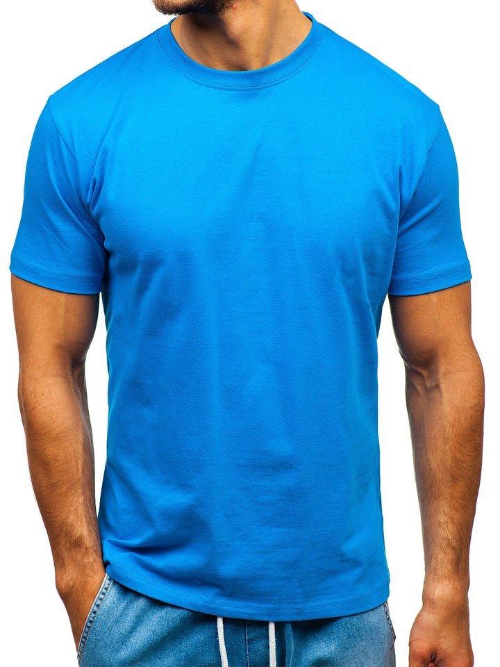 Férfi póló minta nélkül kék színben Bolf T1047