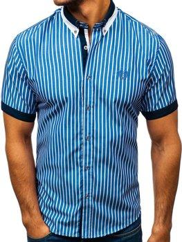 40c4959bad Elegáns kockás férfiing rövid ujjal kék színben Bolf 4501