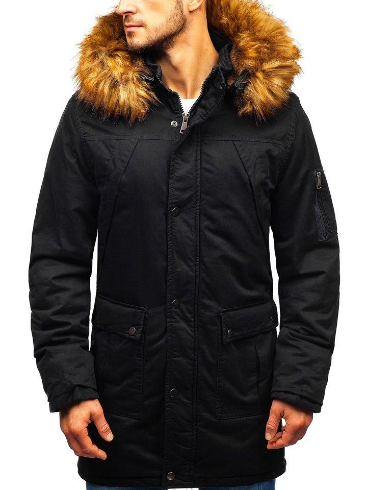 Klasszikus stílusú kapucnis férfi téli meleg cipzáros bélelt