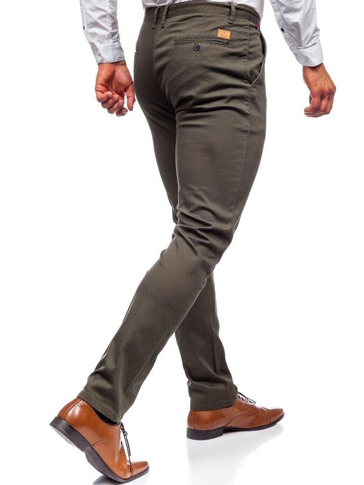 Keki színű férfi vászonnadrág