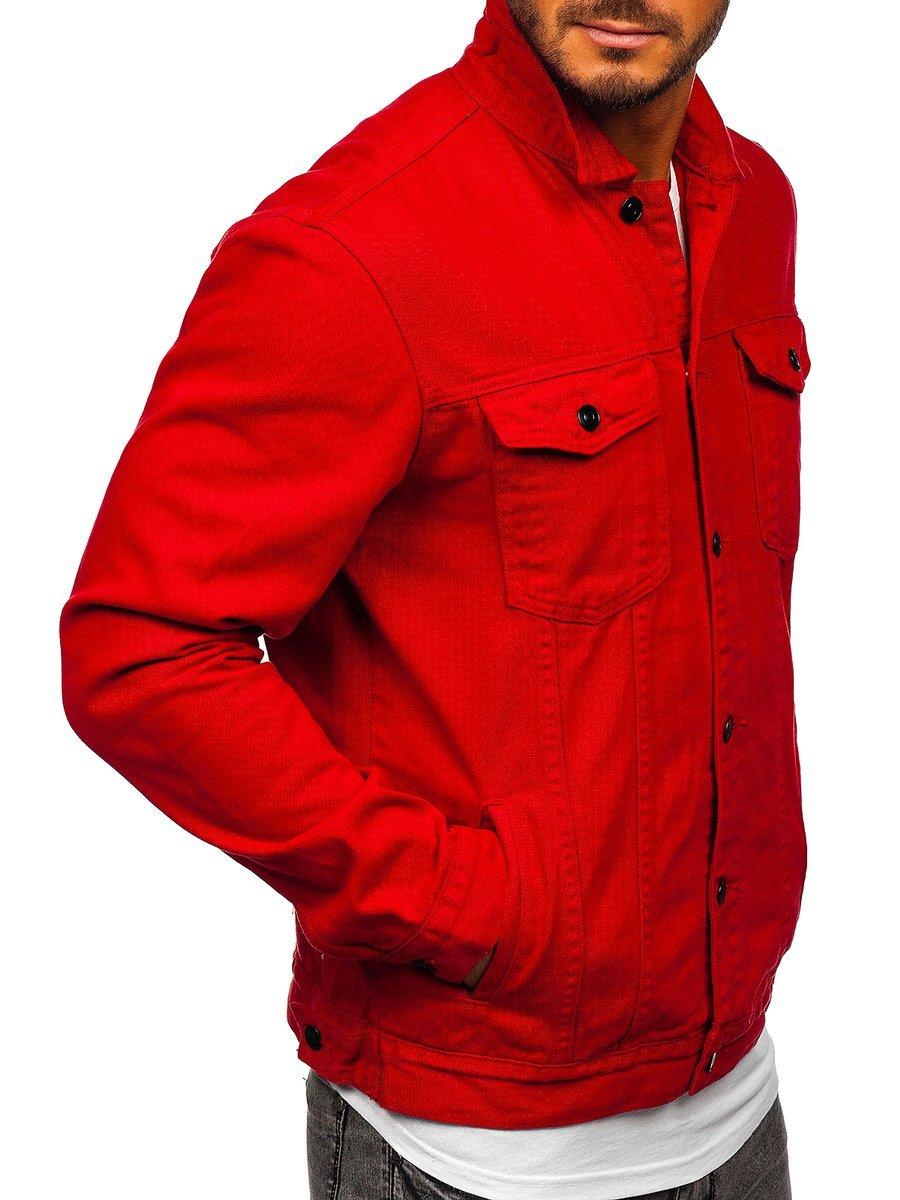 Férfi farmerdzseki piros Bolf XSF78204