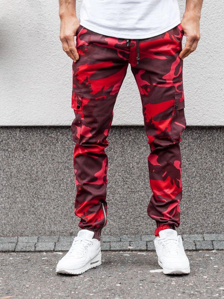 Férfi jogger nadrág terepszínű piros színben Bolf 0858