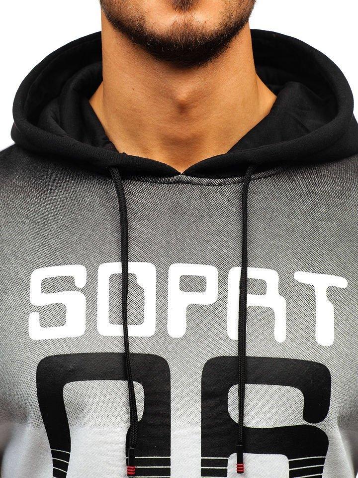 ea42098127 Férfi kapucnis pulcsi mintával fekete színben a Bolf tól KS1801-A Fekete
