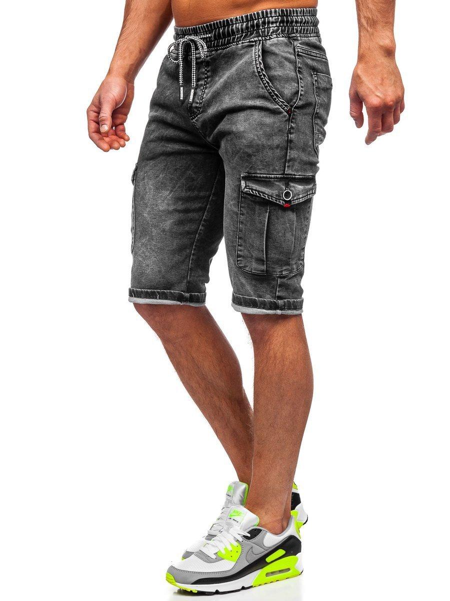 Férfi katonai farmer rövidnadrág övvel fekete Bolf KR1201