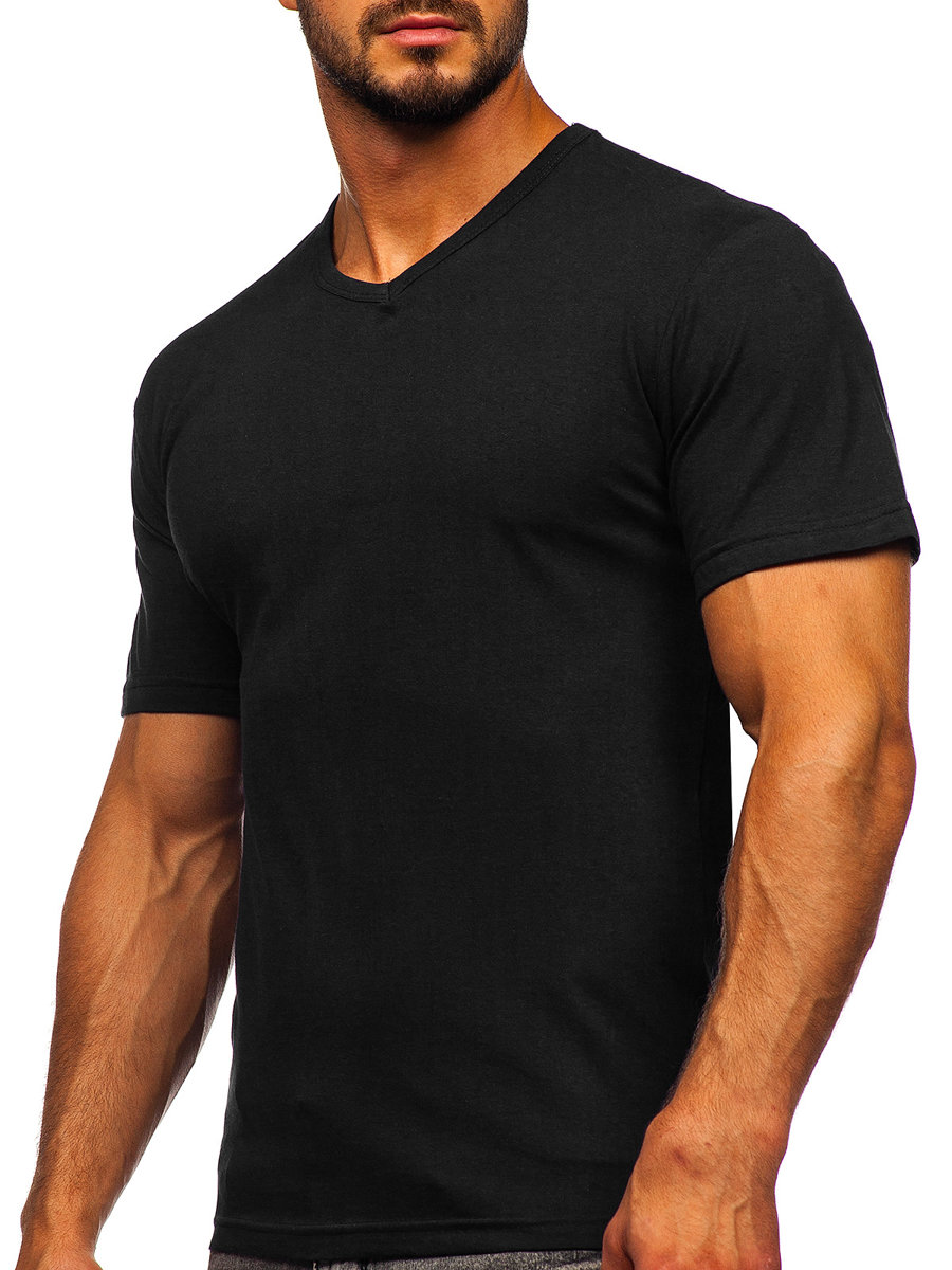 Férfi póló minta nélkül V nyakú fekete Bolf 192131