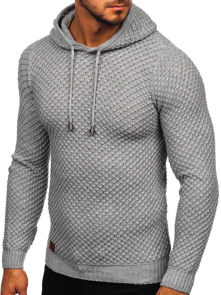 Férfi pulóver kapucnival szürke Bolf 7004 SZÜRKE