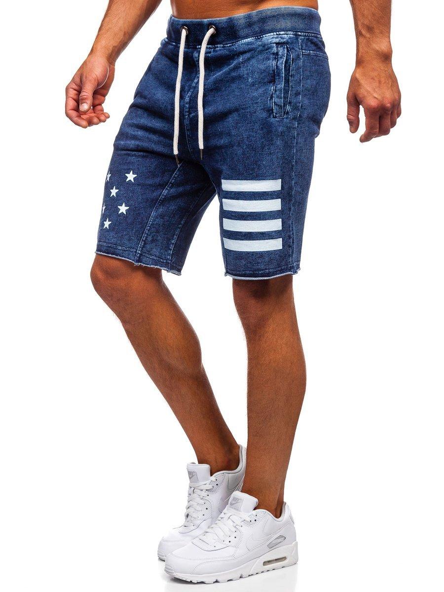 Férfi rövid szabadidő nadrág sötétkék színben Bolf EX02