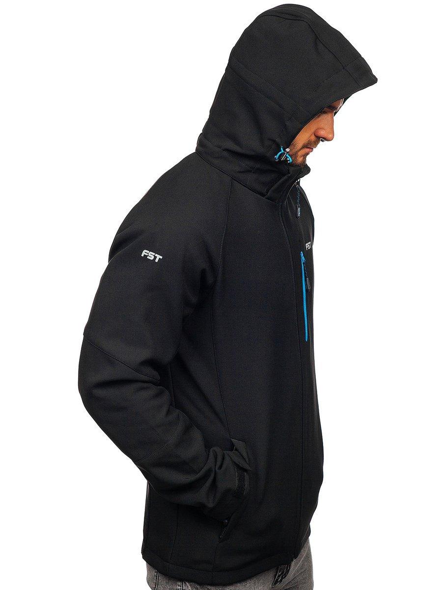 Férfi softshell dzseki fekete narancs színben Bolf P5608