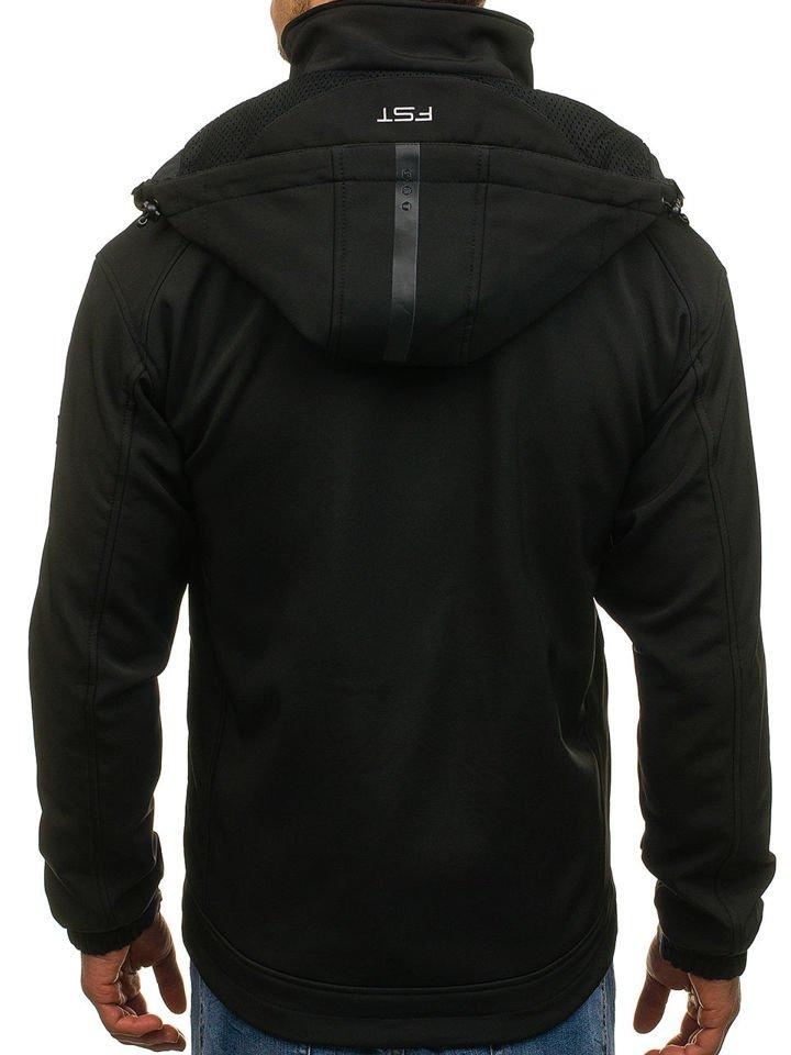 Férfi ruházat Kényelmes fekete softshell kabát sárga