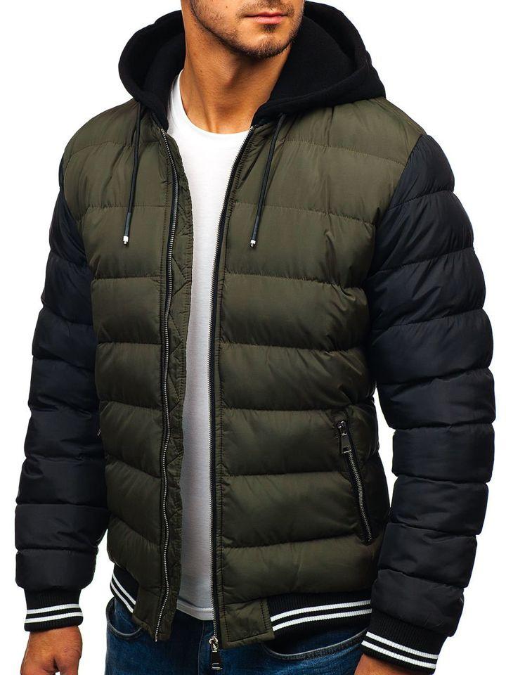 Férfi kabát, bomber dzseki, levehető kapucnival keki