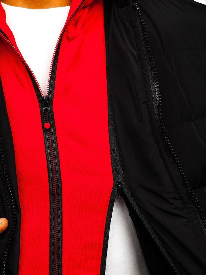 Férfi téli bomber dzseki fekete színben Bolf 5892 Fekete