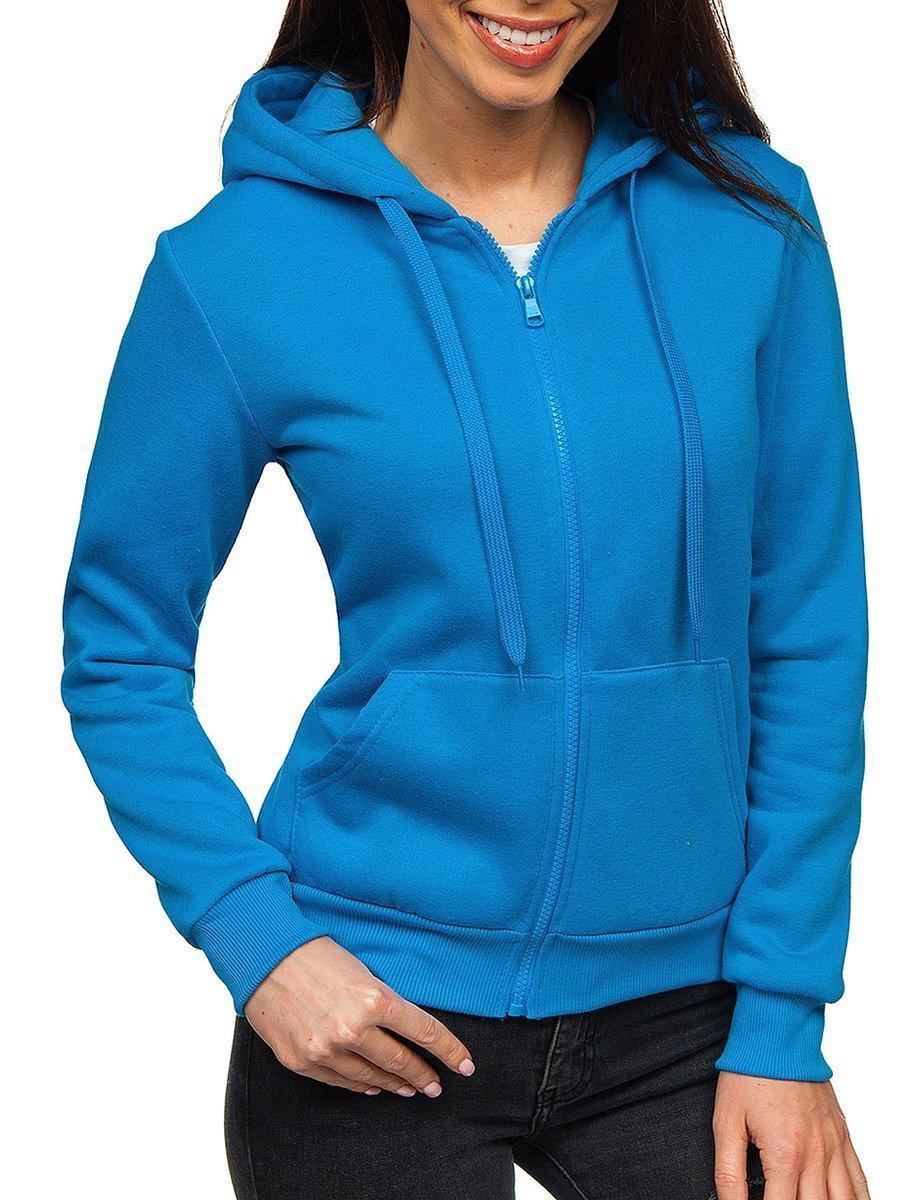 Női pulcsi kapucnival világoskék Bolf WB1005