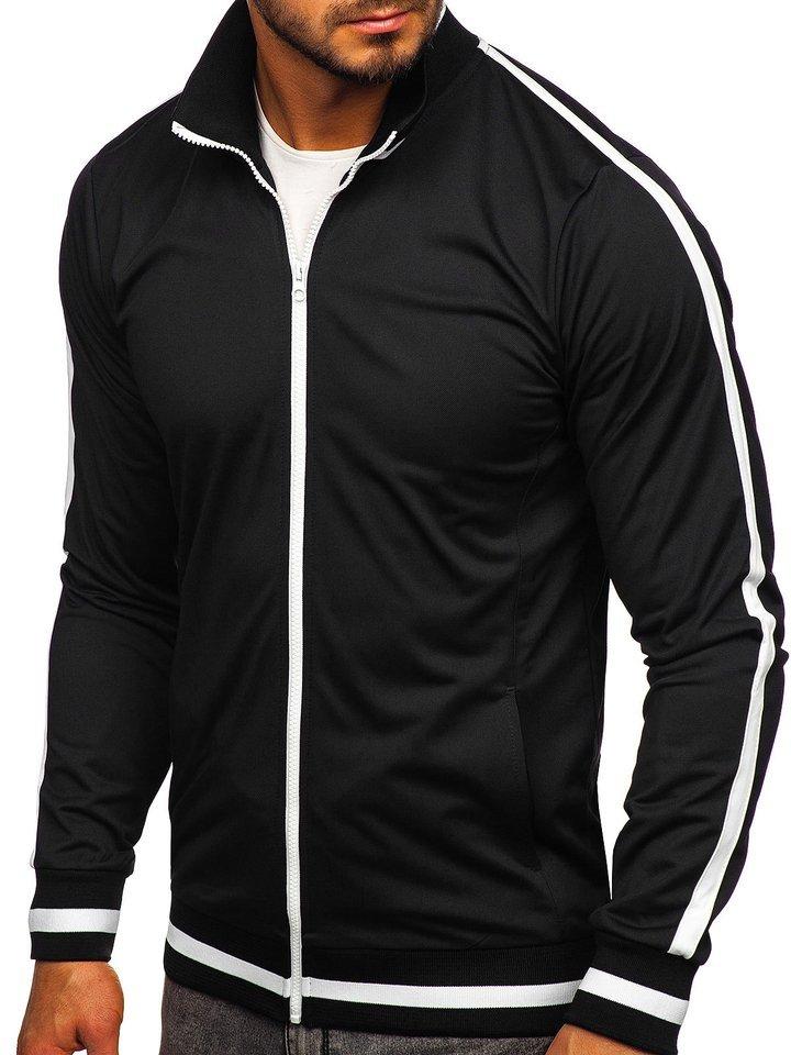 Nyitható férfi pulcsi kapucni nélkül retro style fekete Bolf