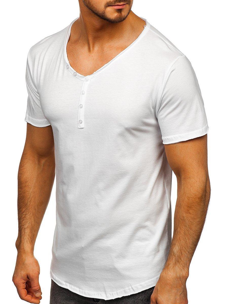V nyakú férfi póló minta nélkül fehér Bolf 4049