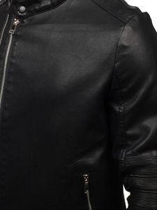Férfi bőrdzseki fekete színben Bolf 1073
