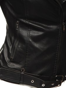 Női motoros bőrdzseki fekete Bolf 2771